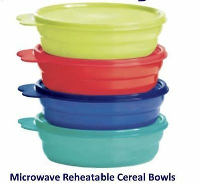 New Tupperware IMPRESSIONS MICROWAVE CEREAL BOWLS set 4 in 2018 Assorted Colors