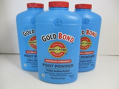 3 Gold Bond Medicated Max Strength Foot Powder 10 Oz Each - New - Jl 4760