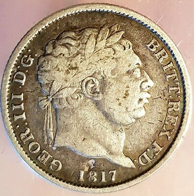 Excellent George Iii 1817 Milled Silver Sixpence. Nice Coin In Nice Quality.