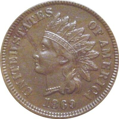 1869 Indian Cent--Sharp AU