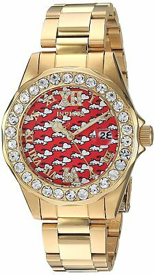Invicta 24821 Character Collection Women's 38mm Gold-Tone Steel Red Dial Watch