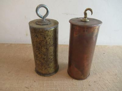 Antique Pair of Heavy Longcase/ Grandfather Brass Lead Filled Clock Weights