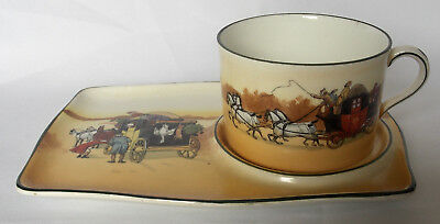 Antique Royal Doulton - Coaching Days - Snack Tray & Cup