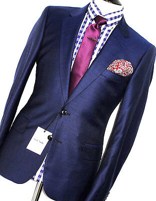 Bnwt Mens Paul Smith The Mainline 2018 Collection Textured Navy Suit 40R W34