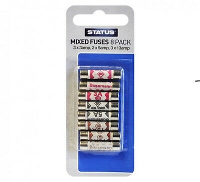 Mixed Ceramic Household Domestic Mains Plug fuses mixed 8 pack