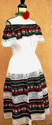 Mexico Black White multicolor Dress Fiesta 5 Mayo Adelita Folkloric Ethnic L/XL