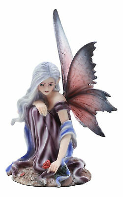"Winter Fairy Holding Red Rose Figurine Purple Winged Fairy 6.25"" Height"