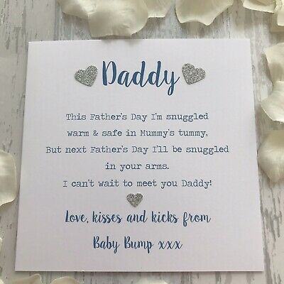 Love from the Baby Bump 1st Father's Day Card Poem Daddy Dad to Be Fathers Blue