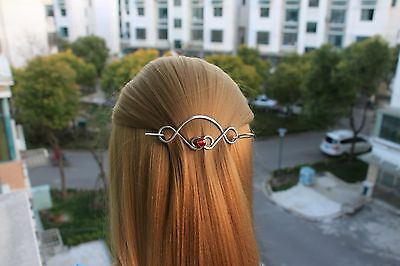 Celtic Hair Clip Metal Hair Stick Red Crystal Hair Pin Hair Slide Silver Jewelry