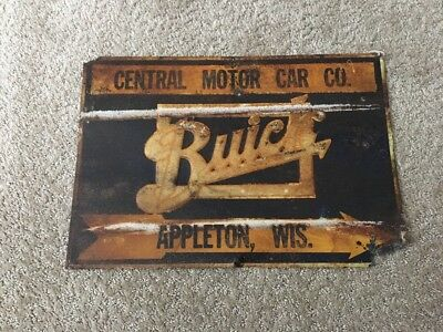 Buick Central Motor Car Company Appleton Wisconsin Tin Sign Rare 1920-30??