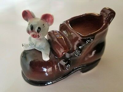 Vintage Kitsch Mouse Cheese Toothpick Holder Planter Ceramic
