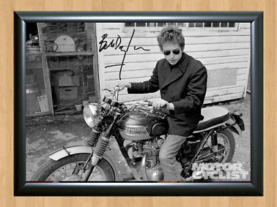 Bob Dylan Motorcycle Signed Autographed A4 Photo Print Poster Memorabilia cd dvd