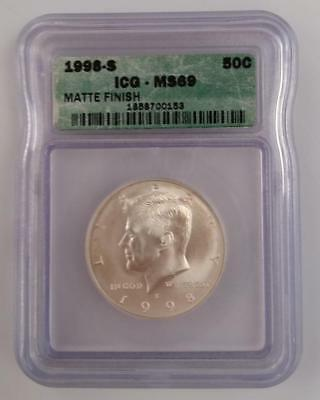 1998-s 90% SILVER KENNEDY 50c MATTE FINISH  ICG MS69 scarce  mnt. 62,000   L1508