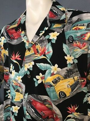 Vintage RJC Hawaiian X-Large Shirt, Classic Cars With Flames Cool Shirt ! NWoutT