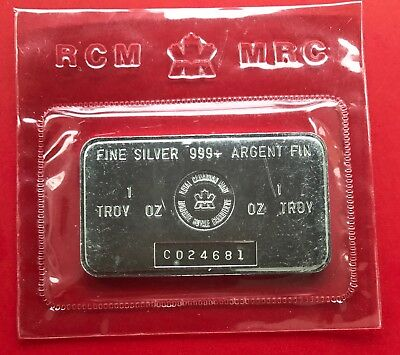 Vintage Royal Canadian Mint 1oz .999 Silver RCM Canada Bar - Blast White