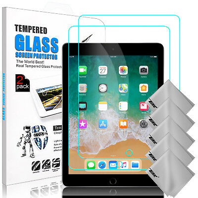 For iPad 9.7 2018/6th Gen/Air 2 Tempered Glass Screen Protector + Cleaning Cloth