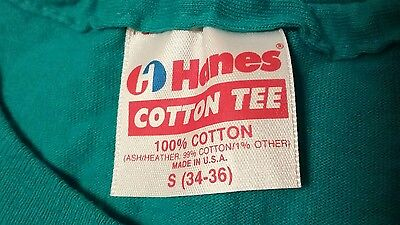 Vintage Hanes Cotton Tee t shirt XS/S teal blank plain