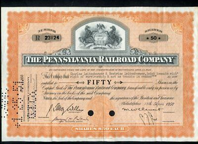 The Pennsylvania Railroad Co.-R23124 50 shares-great graphics-redeemed-1950
