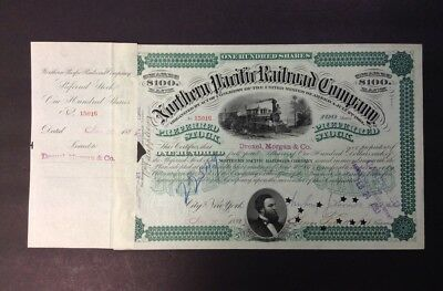 Northern Pacific Railroad Co Stock Cert.-1882-City of NY-Drexel,Morgan & Co.-NM