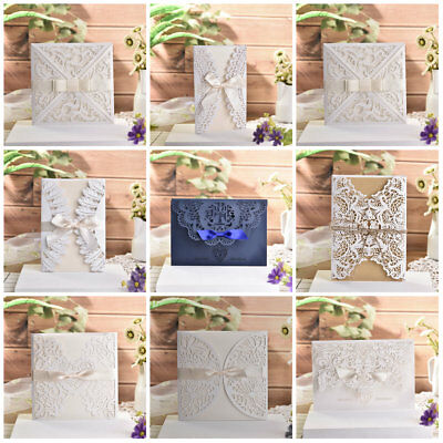 10Pcs Luxury Laser Cut Wedding Invitation Cards with Envelopes Party Supplies