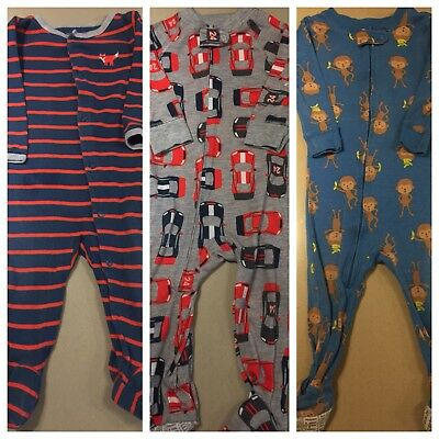 Footed Pajamas Lot 3 Monkeys Cars Raccoon Carter's Great Condition Size 12 month