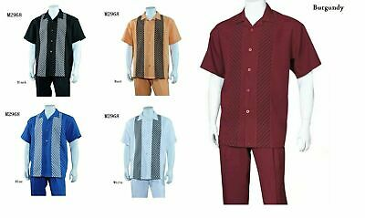 Men/'s 2pc Walking Suit Short Sleeve Casual Shirt w// Pants Set #2965