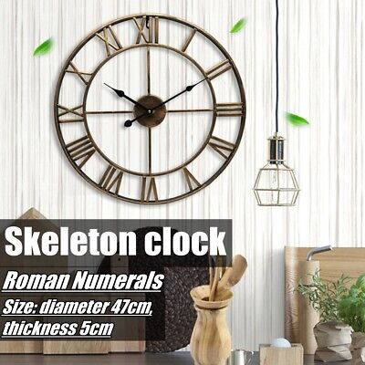 Large Skeleton Clock Style Mirroed Wall Clock Shabby Vintage Chic Roman Numerals