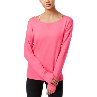 Ideology 2359 Womens Pink Strappy Keyhole-Back Long Sleeves Sweatshirt L BHFO