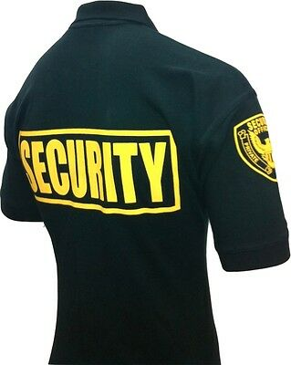 Security Polo Shirt Deluxe New 100% Cotton Black With Gold Letters