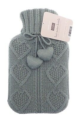 Cable Heart Knit Pom Pom 2L Hot Water Bottle (Grey)