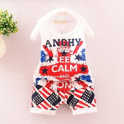 2pcs Summer Toddler Kids Baby Boy T-Shirt Vest Tops+Shorts Pants Outfits Clothes