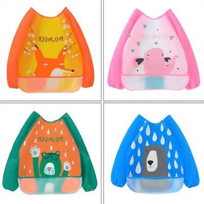 Cute Cartoon Baby Kids Toddler Waterproof Long Sleeve Bibs Apron Feeding Smock