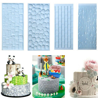 3D Silicone Cake Fondant Mould Baking Sugarcraft Mold Tools Stone Texture Grain
