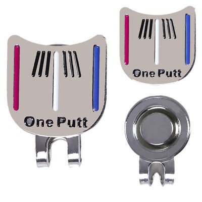 One Putt Golf Alignment Aiming Tool Ball Marker Magnetic Visor Hat Clip Alloy