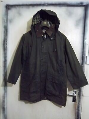 Rare Vintage Barbour Gamefair Waxed Jacket Size C42 107Cm With Hood