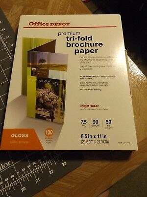 """Office Depot Premium Tri-Fold Brochure Paper Opened 8.5"""" x 11"""" contains 99 shts"""