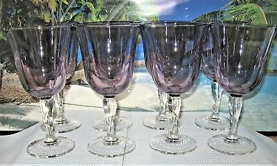 8 Purple Bell Shaped Wine Glasses Twisted Clear Glass Based Stems Glasseware