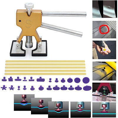 24 Tab Car Paintless Dent Repair Dint Hail Damage Remover Puller Lifter Tool Kit