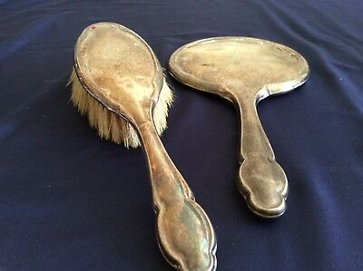 Vintage Sterling Silver Dressing Table Mirror and Hand brush Set