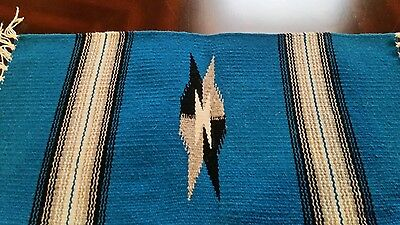"""Chimayo 100% Wool Textile 19"""" X 10 """"Blue  Weaving Made in New Mexico #B2"""