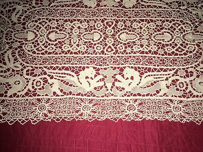 Antique Handmade Reticella Needle Lace Set Runner 8 Placemats Figural Creatures