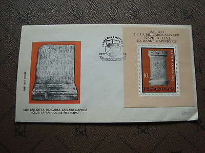 ROMANIA envelope 10/4/74 -stamp Yvert and Tellier bloc n°112 (cy2)