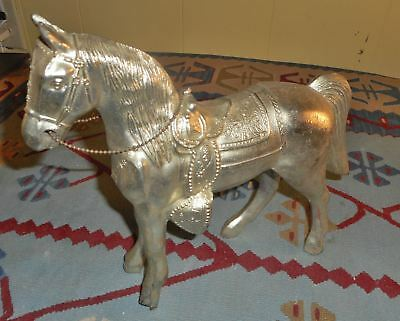 Antique / Vintage  Brass / Bronze . Large Size Lovely Statue Figure Horse Silver