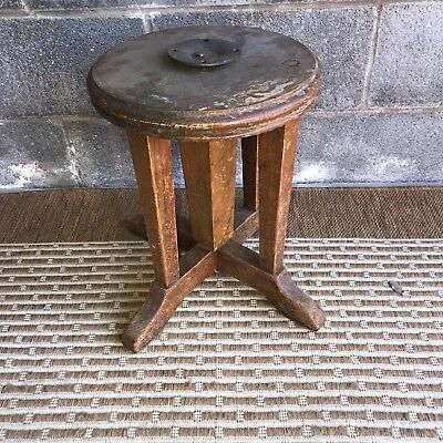 Antique Piano Adjustable Stool Late 1800's - Early 1900's Solid Hardwood