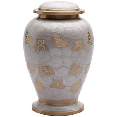 Cremation Urns Butterflies Pearl White Adult Urn for Ashes, Large for Human