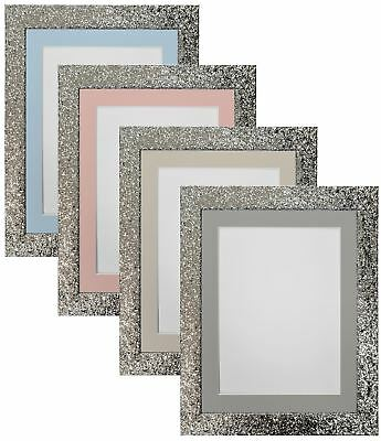 Cabaret Silver Picture Photo Frames with Blue, Pink, Light and Dark Grey Mounts