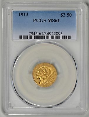 1913  $2.5 Gold Indian PCGS  MS61  *   #34922893