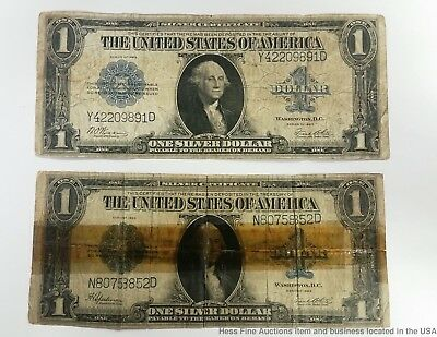 1923 Horse Blanket $1 One Dollar Silver Certificate Large Note Bill LOT 2pcs