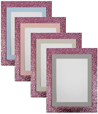 Cabaret Pink Picture Photo Frames with Blue, Pink, Light and Dark Grey Mounts