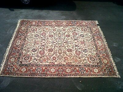 Attractive old Indian carpet, beige, blues, reds.  10ft x 9ft, some wear